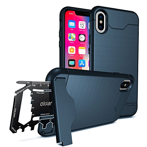iPhone X Protective Case - Olixar X-Ranger - Tough Case + Kickstand - With Survival Multi-tool - Blue (Rangers Credit Card)