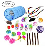 Mrwan 21 Cat Toys Kitten Toys, Tunnels, Balls, Mice Toys, Feather Toys, Refillable Catnip Toys with Extra Catnip for Refill for Cat Kitty Kitten