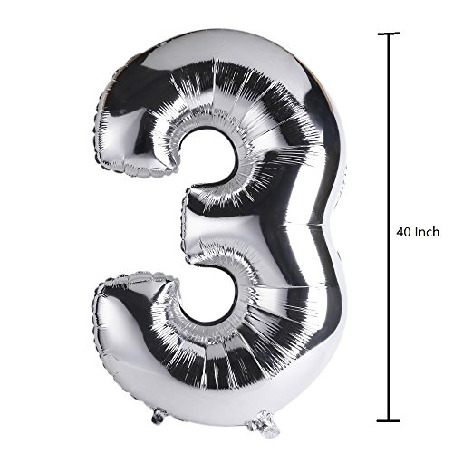 Lokman 40'' Glossy Silver Number 3 Aluminum Foil Helium Balloon for Birthday Party, Anniversary Party Decoration (Number: 3, -