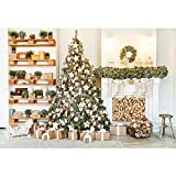 MUZI Christmas Tree Photography Backdrops White Fireplace Plants Decorations Background for Photographer Interior Baby Photo Studio Props 6x5ft XT-6866