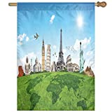 HUANGLING Famous Historical Monuments Of The World Theme Holiday Travel Destinations Decorative Home Flag Garden Flag Demonstrations Flag Family Party Flag Match Flag 27''x37''