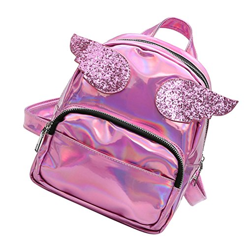 OULII Shiny Hologram Laser Zipper PU Leather Backpack Purse Schoolbag Satchel bolso ocasional para mujeres niñas (rosa)