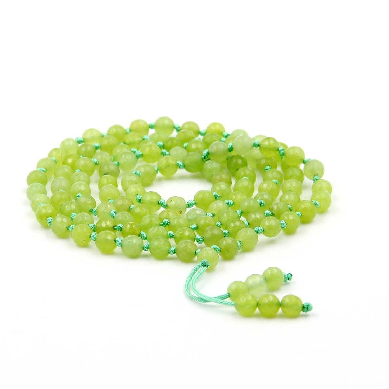 108 6mm Light Green Faceted Stone Knot Tibetan Buddhist Prayer Beads Japa Mala