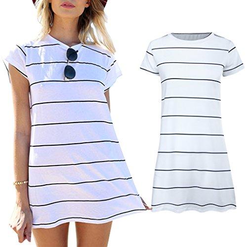 DamenDamen Sommer Kleider Rundhalsausschnitt Kurz Ärmel Striped loses T-Shirt Minikleid Kurzschluss Minikleid Cocktailkleid Partykleid