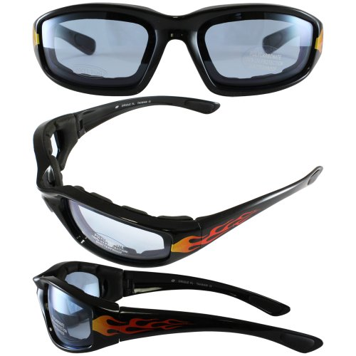 Birdz Eyewear Oriole Padded Motorcycle Glasses with Flame Design (Black Frame/Blue - Glass Pismo