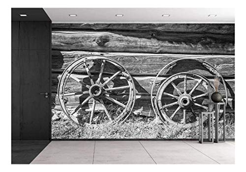 Countryside Wallpaper Mural - wall26 - Old Wheel from Carts in The Countryside - Removable Wall Mural | Self-Adhesive Large Wallpaper - 100x144 inches