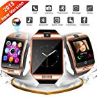 Bluetooth Smart Watch, WATCHOO Smartwatch Touch Screen Sport Wrist Watch Smartwatch Phone Fitness Tracker with Camera Pedometer SIM Card Slot for iPhone iOS Samsung Android for Men Women Kids, Golden