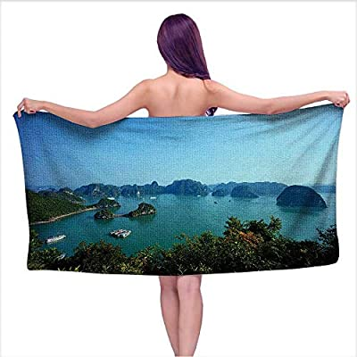Leigh home Microfiber Beach Towels? Beautiful View of Halong Bay,Vietnam,UNESCO World Heritage Site,Scenic View,Quick Dry Super Absorbent Lightweight Towel for Swimmers