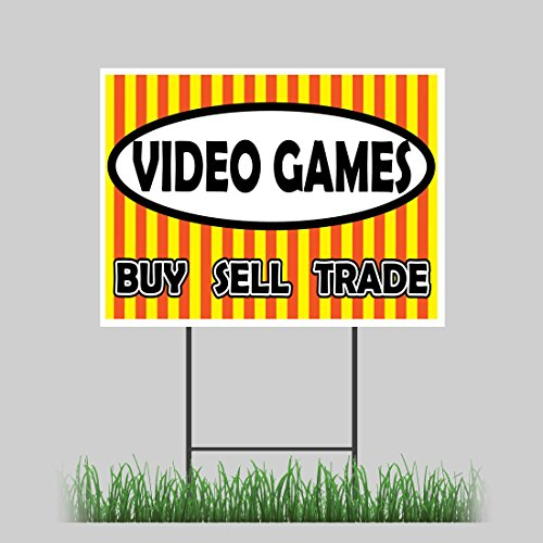 """12""""x18"""" Video Games Yard Sign Retail Buy Sell Trade"""