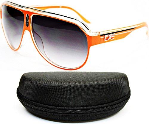 D1045-cc Designer Eyewear Turbo Aviator Sunglasses (148 Clear/Orange, - Shades Rasta