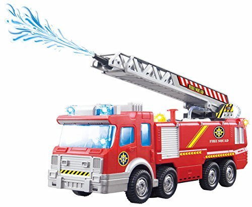 Top Race Fire Engine Truck with Water Pump Spray, Extending Rescue Ladder, and Flashing Lights & Sirens, Battery Operated Bump & Go Action Toy