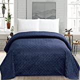 HollyHOME Super Soft Solid Blanket Microplush Full Queen Size Quilt Comforter, Navy Blue