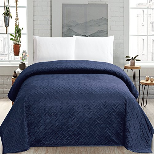 HollyHOME Super Soft Solid Blanket Microplush Full Queen Size Quilt Comforter, Navy Blue (Quilt Blue Queen Navy)