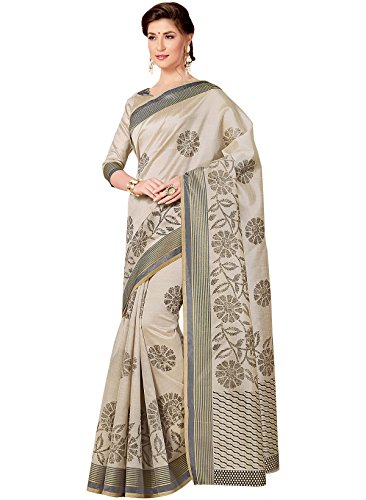 IndusDiva-Womens-Beige-Tussar-Silk-Saree