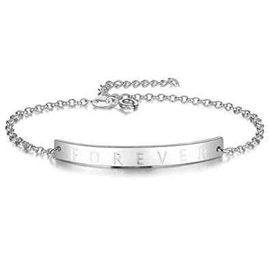 e529950d2fb23 Amazon.com: Bar Bracelet Personalized Name ankle Gold Plated ...