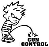 Vinyl Sticker Boy Peeing Piss Gun Control Security .223 5.56 AR-15 Military USA Signs Wall Door Decal Weather Resistant Sign