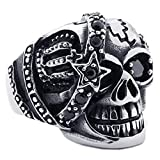 KONOV Gothic Skull Cubic Zirconia Stainless Steel Men's Biker Ring Black, Size 12