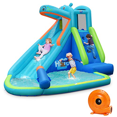 BOUNTECH-Inflatable-Water-Slide-Hippo-Themed-Bounce-House-Bouncer-Park-w-Splashing-Slide-Climbing-Wall-Water-Cannon-Including-Carry-Bag-Stakes-Repair-Kit-Hose-with-740W-Air-Blower
