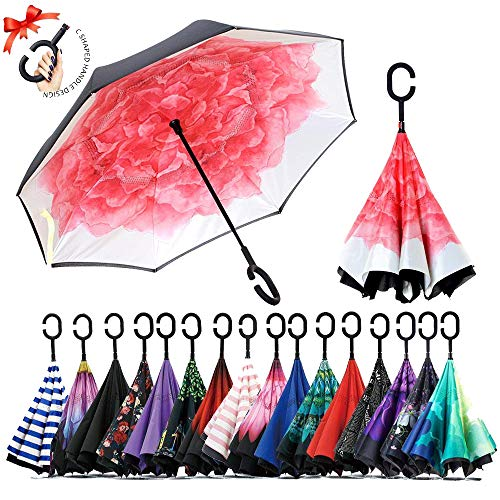 umbresen Double Layer Inverted Umbrella Cars Reverse Open Folding Umbrellas, Windproof UV Protection Large Self Stand Upside Down Straight Umbrella for Golf Women and Men with C-Shaped (Pink Peony)