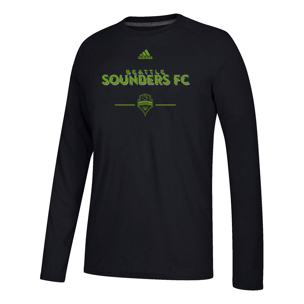 Adidas Seattle Sounders Fc Mls Men S Black Lined Up Climalite Ultimate T S Shirts