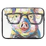 SWAKOJIJI Cute Colorful Animal Smart Potter Pig 13/15 Inch Laptop Sleeve Bag for MacBook Air 11 13 15 Pro 13.3 15.4 Portable Zipper Laptop Bag Tablet Bag,Diving Fabric,Waterproof Black