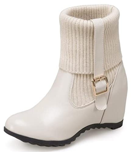 5443ca72d4b IDIFU Women s Stylish Folded Buckle Mid Wedge Heels Inside Round Toe Pull  On Knitted Ankle Boots