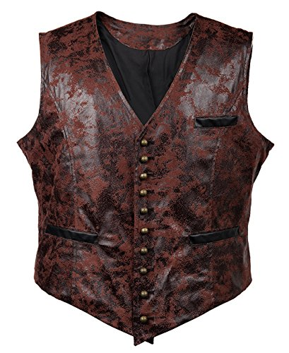 Bslingerie Mens Steampunk Faux Leather Gothic Waist Cincher Corset Vest (L, Red)