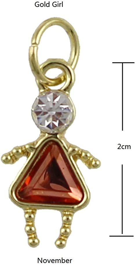 10k Tri Color Gold Girl With Bow April Birthstone Charm Pendant