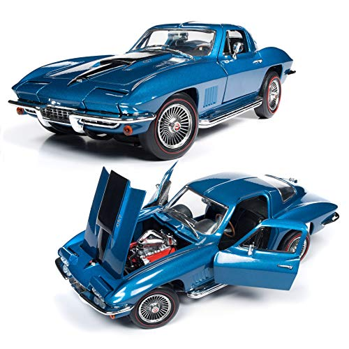 American Muscle 1967 Chevrolet Corvette Coupe (MCACN) in Marina Blue Diecast Model 1:18 AMM1176 ()