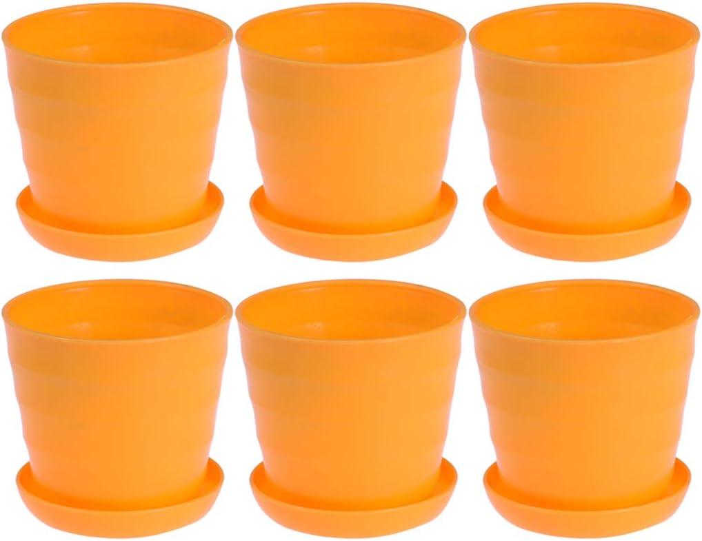 Yardwe Mini macetas de Flores de plástico de macetas de Plantas de semillero Olla vivero con bandejas platillos 10PCS (Naranja)