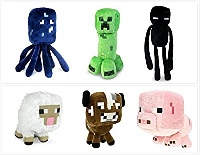 """Official Minecraft Overworld 7"""" Plush SET of 6: Squid, Creeper, Enderman, Baby Pig, Cow, & Sheep from Minecraft Toys"""