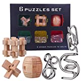 YIFAN IQ Brain Teaser Puzzles for Kids and Adults, Metal and Wood Mind Games for Kids 8-12