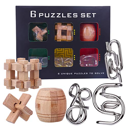 YIFAN IQ Brain Teaser Puzzles for Kids and Adults, Metal and Wood Mind Games for Kids 8-12 ()