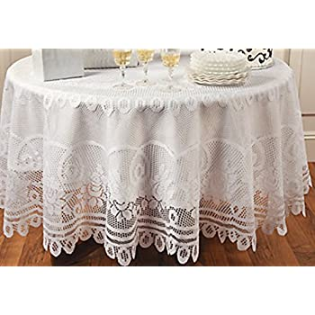 Amazon Com Elegant White Round Lace Tablecloth With