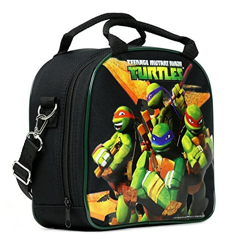TMNT Ninja Turtles Lunch Box Carry Bag with Shoulder Strap and Water Bottle -
