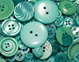 """Fancy & Decorative {Assorted Sizes w/ 1, 2, 4 Holes} 50 Pack of """"Flat & Shank"""" Sewing & Craft Buttons Made of Acrylic Resin w/ Light Modern Summer Seasonal Oceanic Creative Design {Teal}"""