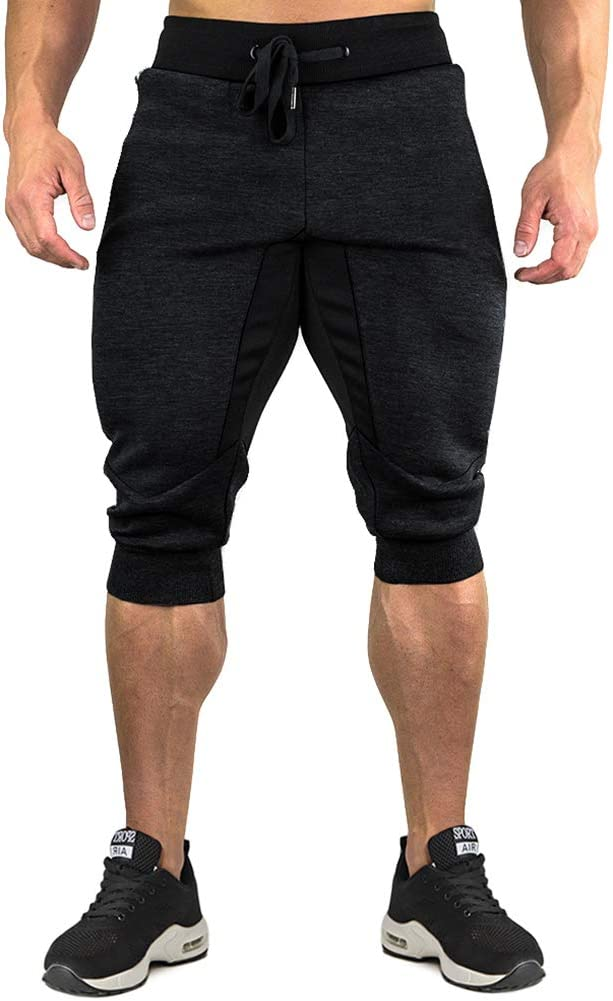 TACVASEN Mens Cotton Casual Long Shorts Sports Joggers Shorts Elastic Waist Zip Pockets