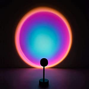 Sunset Lamp Projector Night Light Projection Led Lamp, 180 Degree Romantic Visual Network Red Light with USB Modern Floor Stand Night Light Living Room Bedroom Garden Family Party Decor - Rainbow