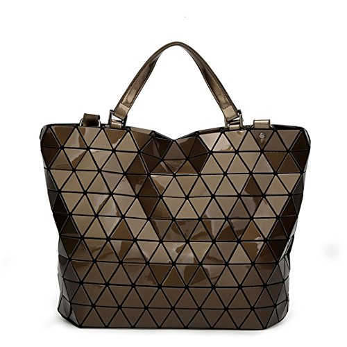 Women Laser Geometry Bag Sequins Mirror Plaid Folding Shoulder Bags Hand Casual Tote Bucket Bag Small Silver Large Brown