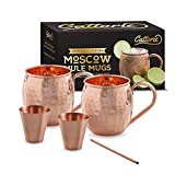 100%   Handcrafted   Copper   Moscow   Mule   Gift   Set   of   2   Mugs   (16   ounces)   +   Extra Bonus 2   Shot   Glasses   + Straw,