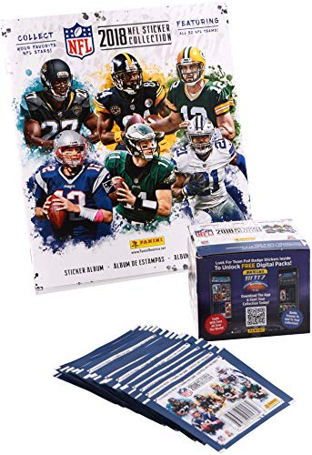 (2018 Panini NFL Stickers Bundle with (1) Factory Sealed 50 Pack Box & (1) Sticker Album - Football Wax Packs)