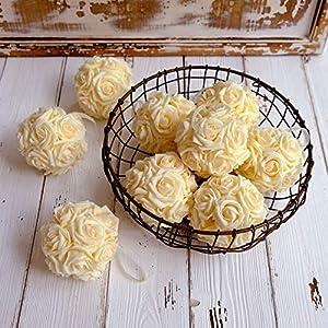 "idyllic 9pcs Rose Flower Foam Kissing Balls for Bridal Wedding Centerpiece Party Ceremony Decoration 3.5"" 50"