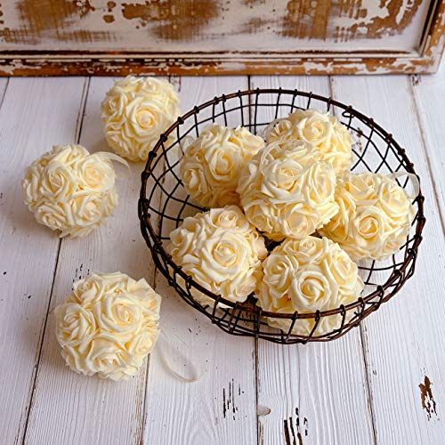 idyllic 9pcs Rose Flower Foam Kissing Balls for Bridal Wedding Centerpiece Party Ceremony Decoration 3.5 Inches (Ivory) -