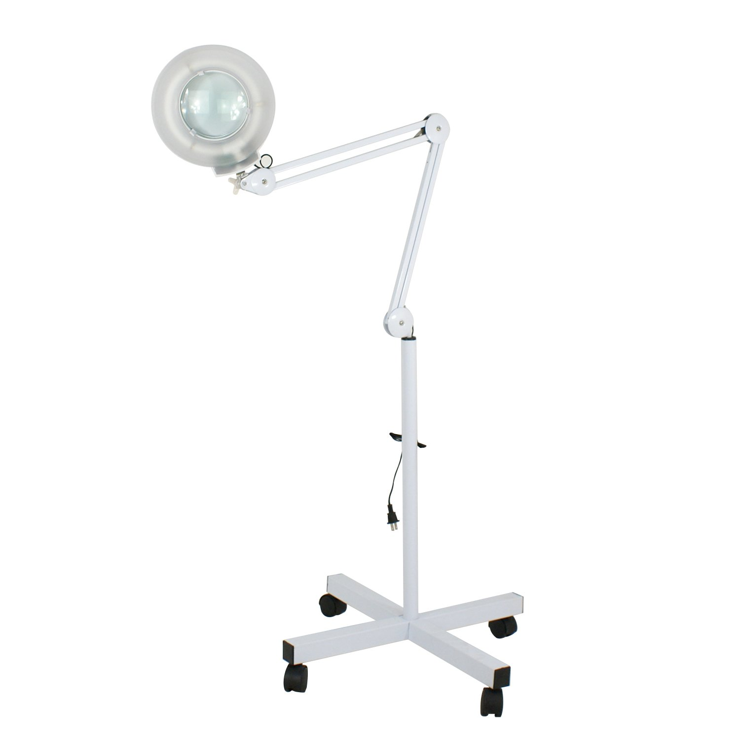 5X Magnifying Lamp Facial Magnifier Lamp LED Glass Lens - Adjustable Rolling Floor Stand Swivel Arm For Salon Beauty Manicure Tattoo Skincare Equipment