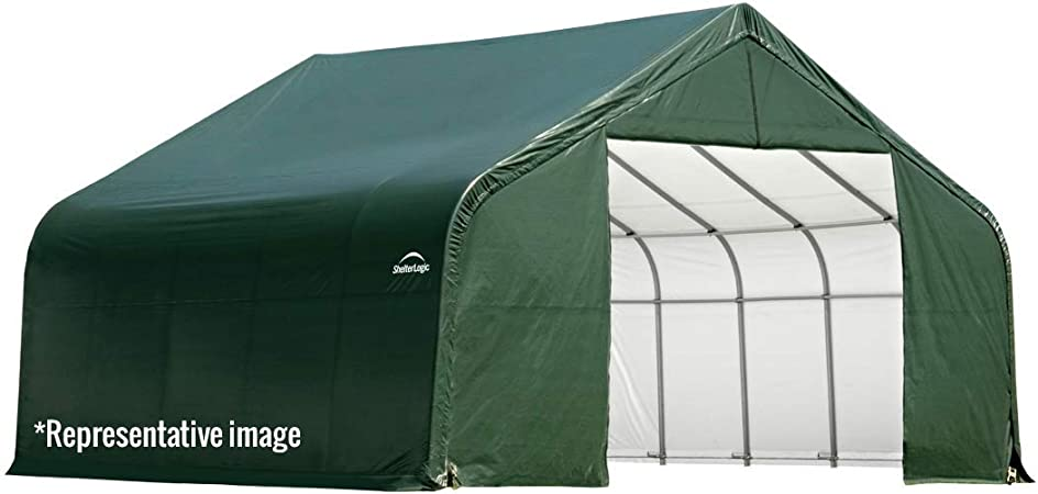 Shelterlogic 74442 - Cobertizo de almacenamiento para vehículos de cochera, barcos, automóviles y vehículos, color verde, 13 pies de ancho x 24 pies de largo x 10 pies de altura: Amazon.es: Bricolaje y herramientas