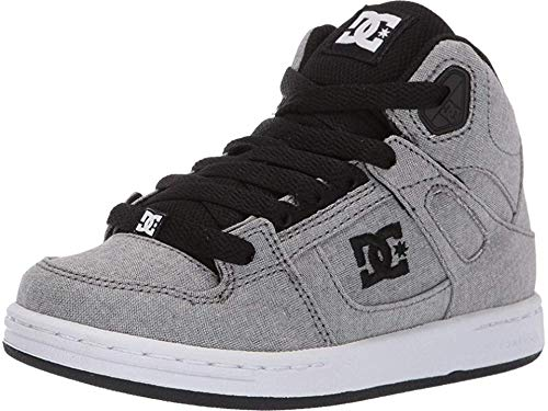DC Boys' Pure HIGH-TOP TX SE Sneaker, Grey, 3.5 M M US Big Kid