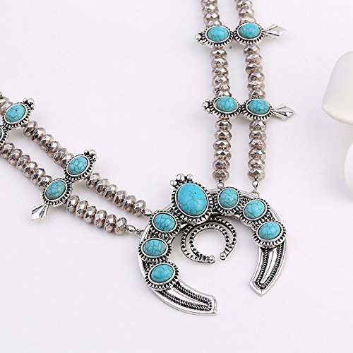 Manufacturers selling new European style fashion Turquoise Necklace Antique Silver Plated Necklace long do not fade fine jewelry