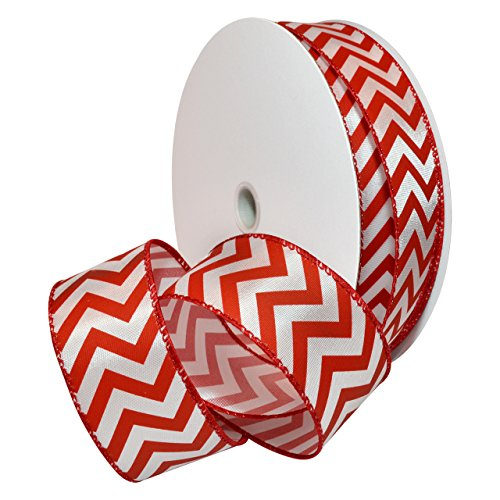 Morex Ribbon Wired Peppermint Chevron Polyester Ribbon, 1-1/2
