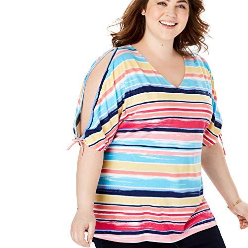 (Woman Within Women's Plus Size Slit Tie-Sleeve Tee - Brushstroke Stripe, 14/16)
