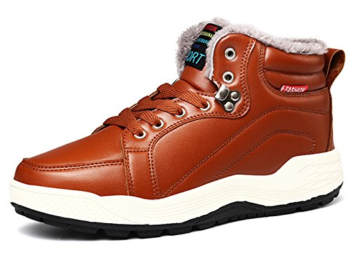 Santimon Mens Leather Snow Boots Lace Up Ankle Sneakers High Top Winter Shoes With Fur Lining Tan